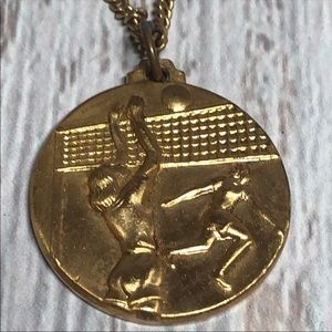 Rare Volleyball Gold Plated Medal Pendant Necklace